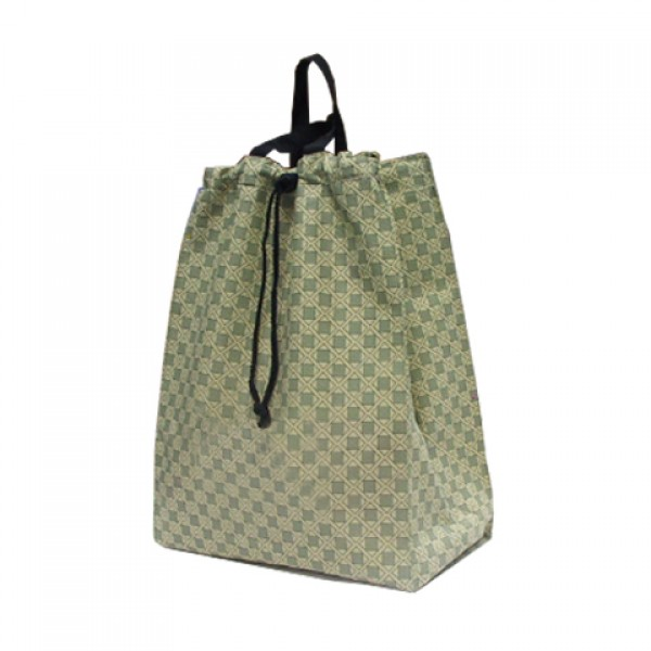Carrying Bag: Square Pattern <Beige/Olive>-Tie-string